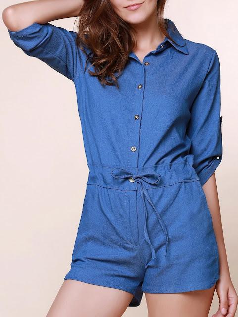 Bonito camisa gola cor pura 3/4 manga Lace-Up Jeans Rompers para mulheres