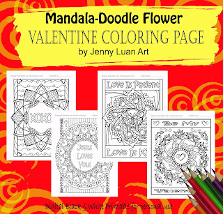 Mandala doodle flower Valentine coloring Bundle of 4