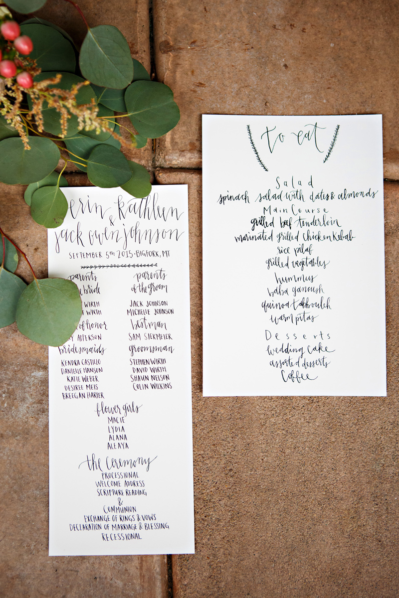 Montana Wedding Invitations / Calligraphy / Photography: Brooke Peterson / Wedding Coordinator: Courtney of 114-West