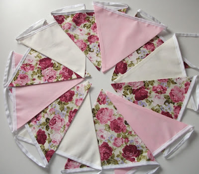 rose with pink and cream bunting