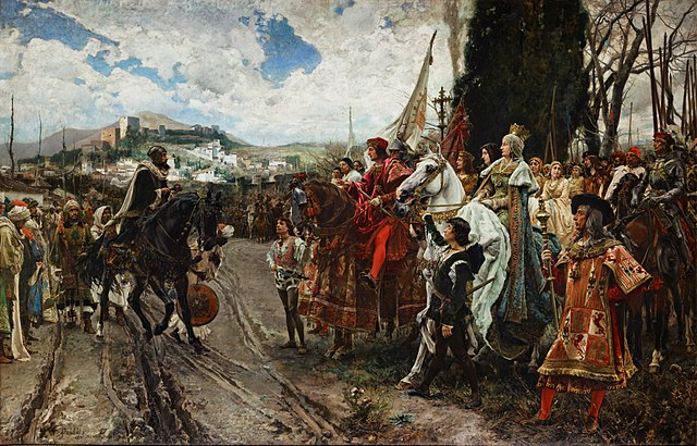 Muhammad XII (Boabdil) surrenders to Ferdinand and Isabella
