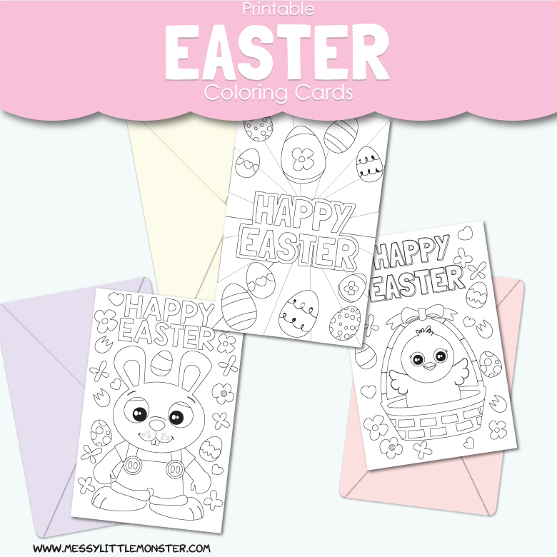 picture relating to Easter Cards Printable referred to as Printable Easter Playing cards towards Coloration - Messy Small Monster