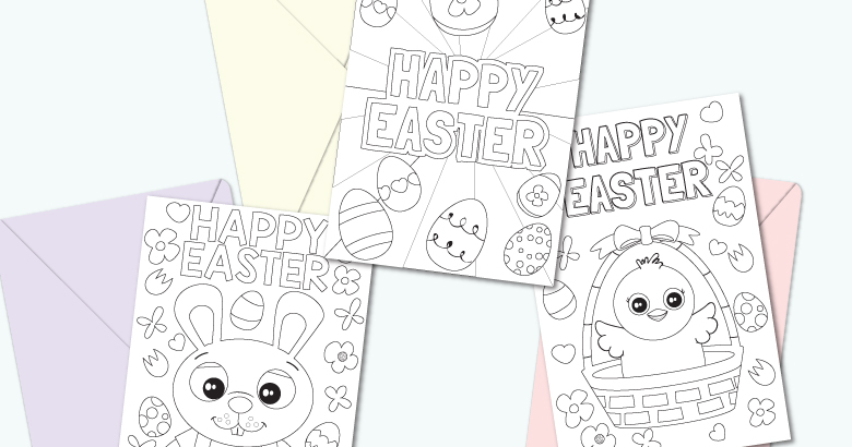 Printable Easter Cards To Colour Messy Little Monster
