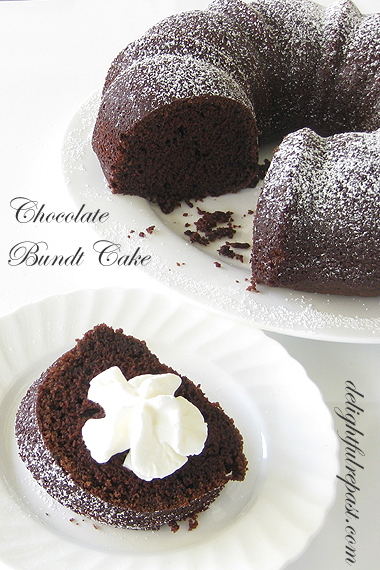 Chocolate Bundt Cake - this one is light and fluffy, not heavy and dense / www.delightfulrepast.com
