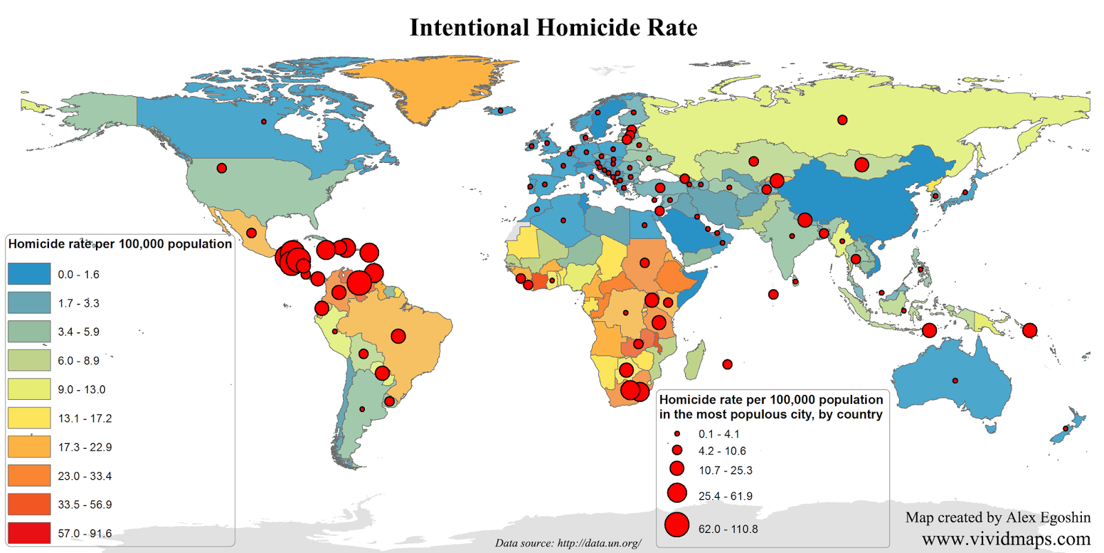 Intentional homicide count and rate per 100,000 population in the most populous city, by country