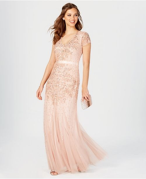 2cd775023b3e For those searching for a glamorous alternative to Kate's much loved pink Jenny  Packham gown, Sara discovered the Adrianna Papell Cap Sleeve Embellished ...