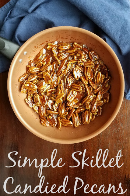 Candied pecans made quickly in a skillet on the top of the stove are simple way to elevate so many dishes. They are great on their own too!