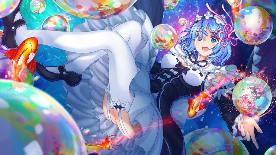 Rem, Re:Zero, Anime, Girl, Maid, 4K, #4.2760