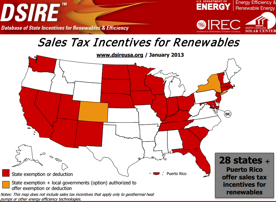 State tax incentives map from 2013