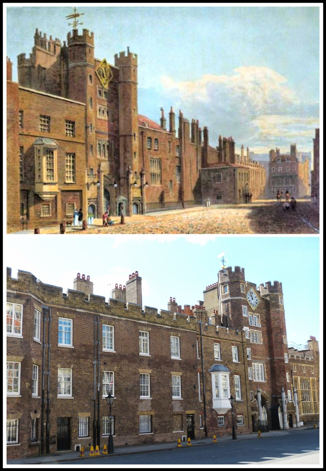 Top: St James' Palace from    The History of the Royal Residences by WH Pyne (1819)  Bottom: St James' Palace today © Andrew Knowles