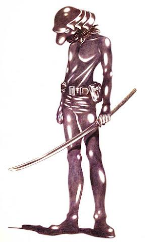 自作のマンガ、サムライガンから、サムライガン全身図を描いた絵