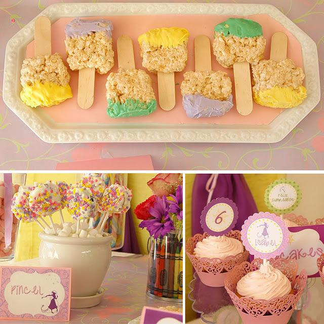 These 3 Photos Are From A Wonderful Rapunzel Party I Post Them Here Because Of The Rice Krispie Treats Above That Look Like Paint BrushGet It