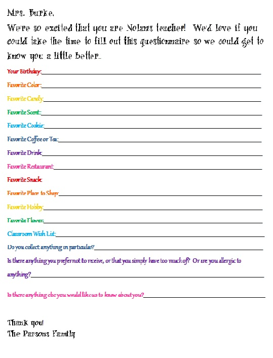 Bright image intended for teacher favorite things questionnaire printable