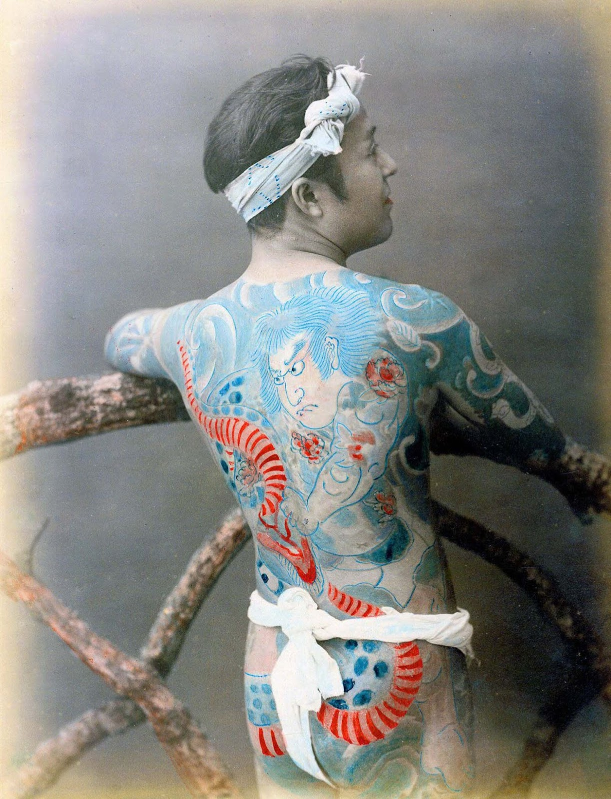 It is known for certain that irezumi became associated with firemen, dashing figures of bravery and roguish sex-appeal, who wore them as a form of spiritual protection.
