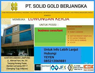 Lowongan Kerja Lampung 2018 di PT. Solid Gold Berjangka Bandar Lampung Terbaru Mei