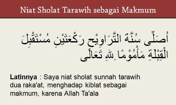 Niat sholat tarawih sebagai makmum