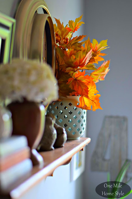 Fall Leaves Shelf Vignette - One Mile Home Style Fall Home Tour