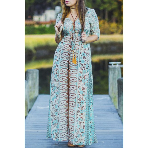 Plunging Neck 3/4 Sleeve Full Floral Print Elastic Waist Front Slit Maxi Dress