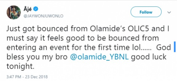 Jaywon recounts an embarrassing moment after bounced from Olamide's concert, OLIC5