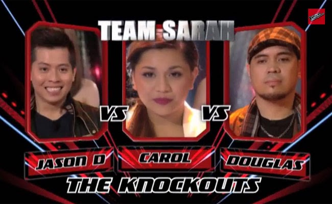 The Voice of the Philippines Season 2 Knock Out Rounds Team Sarah; Jason Dy, Carol Leus and Douglas Dagal