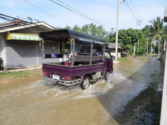 Мини грузовик едет по затопленной дороге