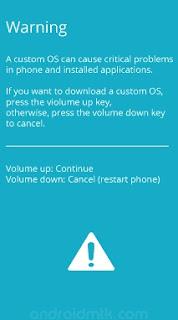 Samsung Galaxy S4 GT-I9500 Warning Sign