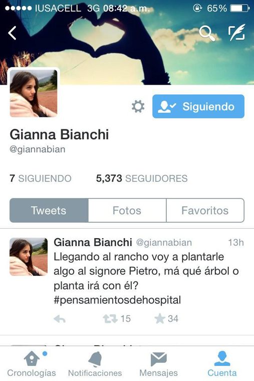 Screenshot de la cuenta de Twitter de Gianna Bianchi, personaje de la telenovela Muchacha italiana viene a casarse | Ximinia
