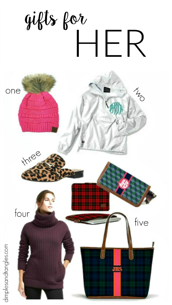 christmas gift ideas, gift guide, gifts for her, barrington bags, cc hat, charles river monogrammed jacket, leopard mules, gap sweatshirt