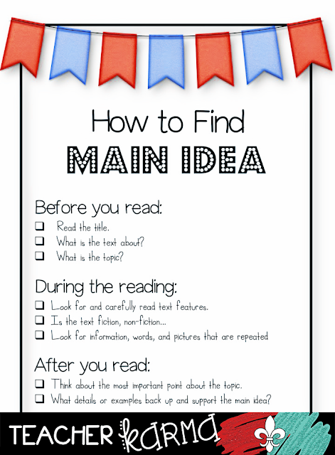 Main idea freebie.  TeacherKARMA.com