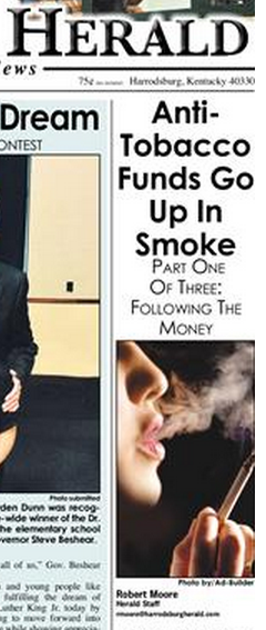 Harrodsburg Herald, a weekly newspaper, does three-part series on tobacco issues in Mercer County and statewide