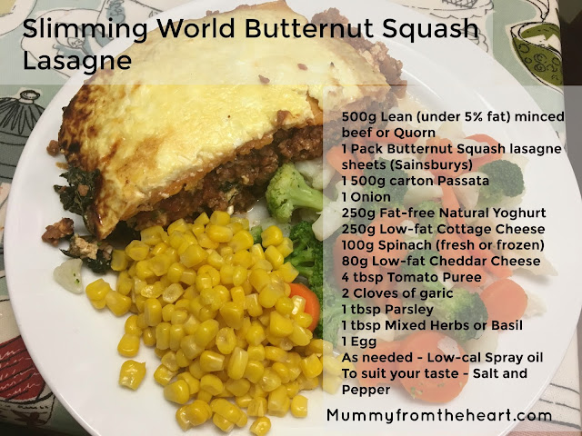 Easy recipe sheet to print for slimming world syn free butternut squash lasagne