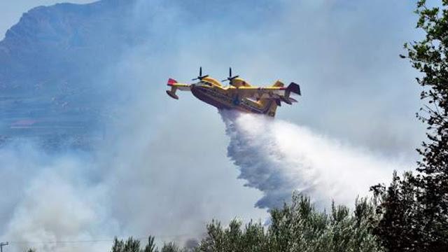 """Μεγάλη φωτιά στον Αετό Φιλιατών - 4 αεροπλάνα στη """"μάχη"""""""