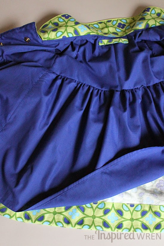 Gorgeous royal blue lining and interior details | Penny Vintage Coat sewn by The Inspired Wren