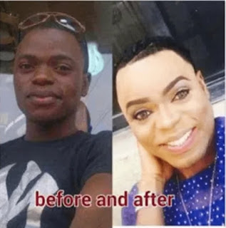 Befor and after picture of Bobrisky