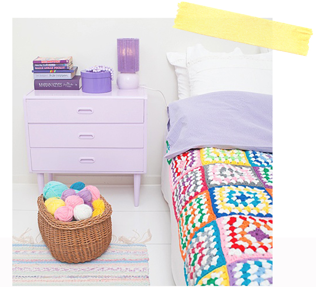 couverture crochet multicolor