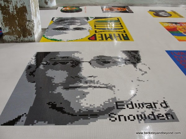 closeup of Edward Snowden portrait in Trace Lego work at Ai Weiwei exhibit at Alacatraz in San Francisco