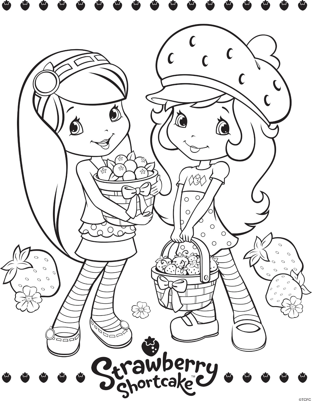 Strawberry Shortcake Coloring Page Swimming