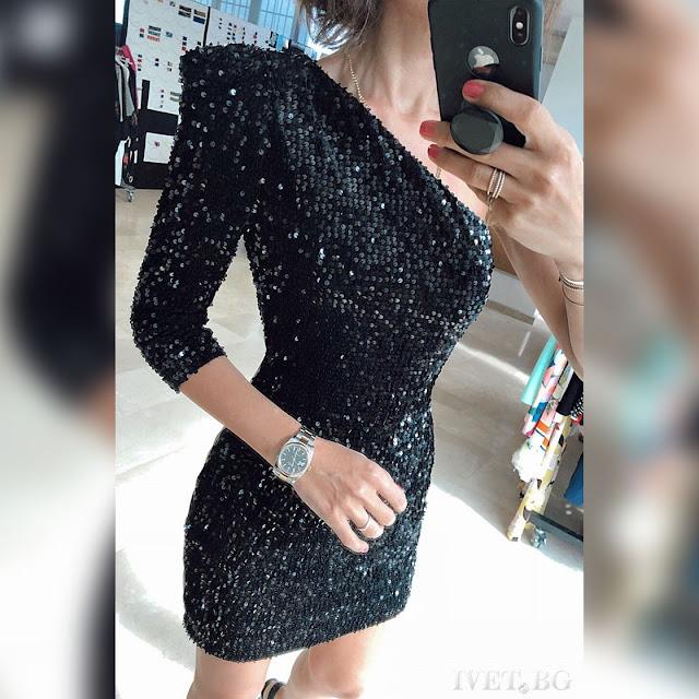 Εντυπωσιακό κοντό μαύρο φόρεμα LOLETA