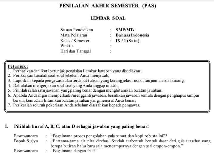 Contoh Soal Uas Pas B Indonesia Kls Ix Smp Beserta Kunci Jawaban