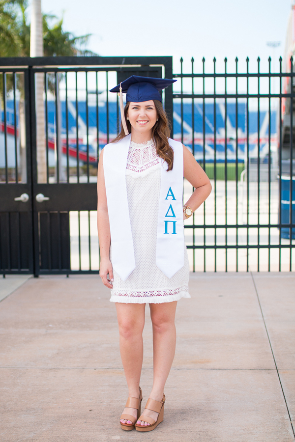 White lace Saylor Clarissa dress worn for graduation.