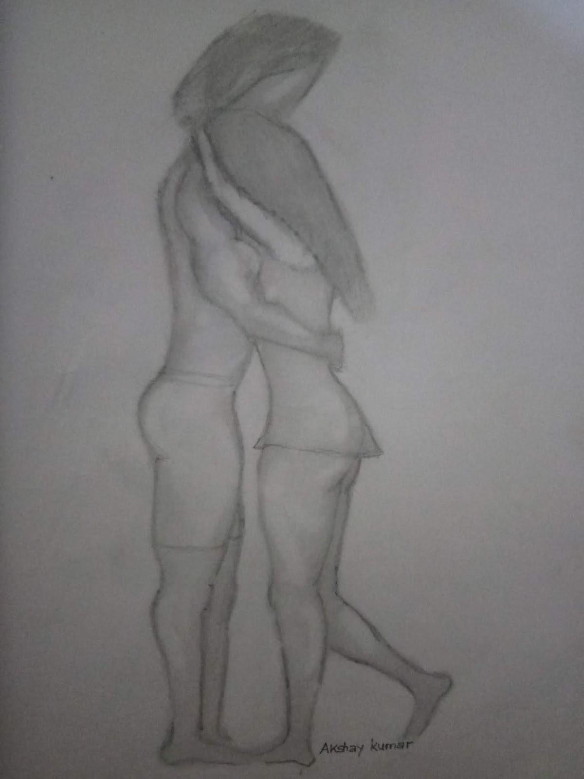 Akshay kumar color pencil drawing of romantic love couple