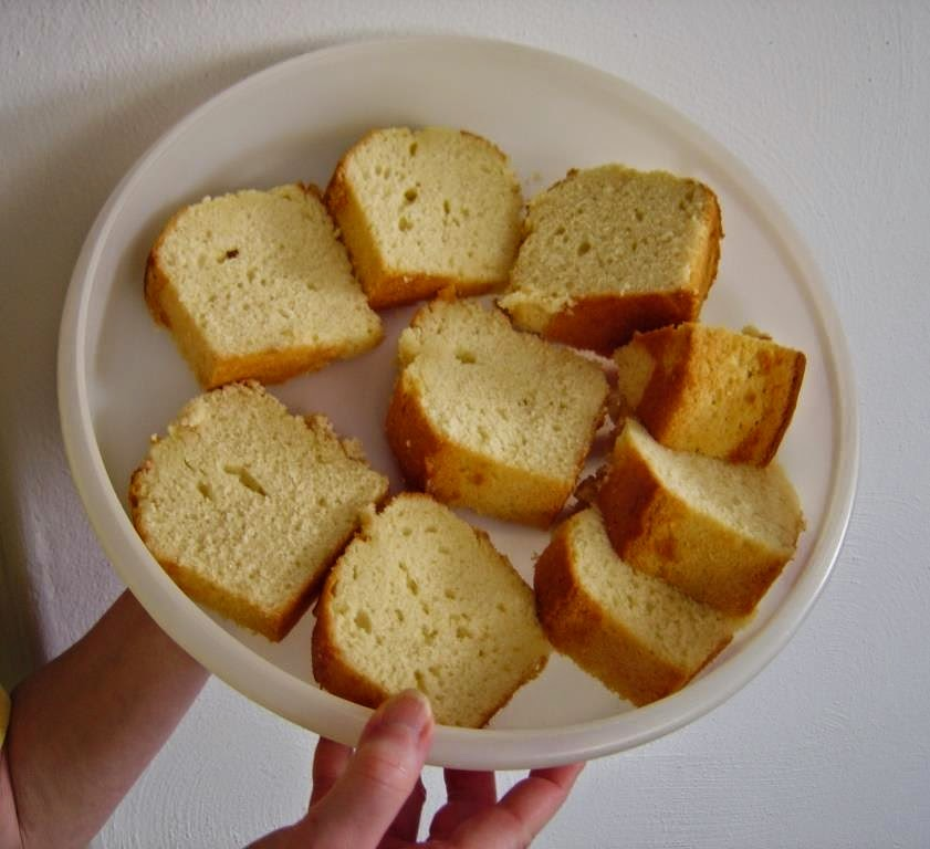 My Deluxe Pound Cake cut into pieces