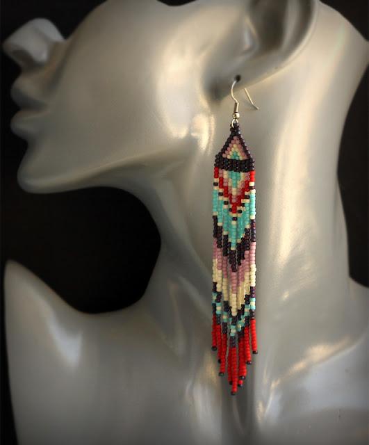 необычные бисерные серьги купить в интернет магазине авторской бижутерии из бисера