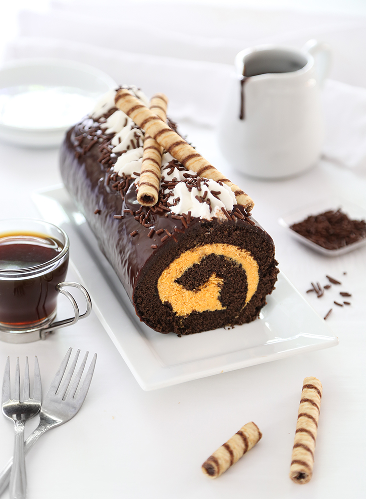 Pumpkin Buttercream Swiss Roll