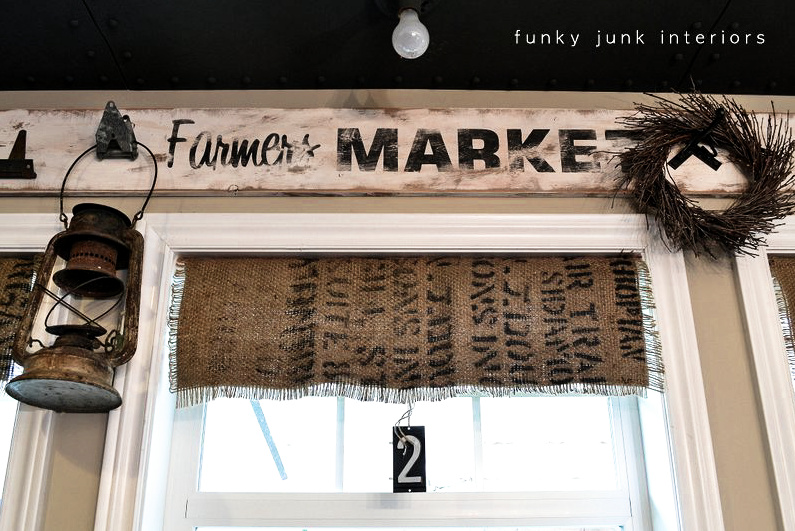 My burlap coffee bean sack window shades funky Burlap bag decorating ideas