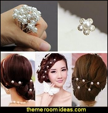 Wedding Bridal Pearl Flower Crystal Hair Pins Clips Bridesmaid