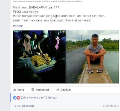 status facebook tentang kecelakaan di Pantai Batuhiu