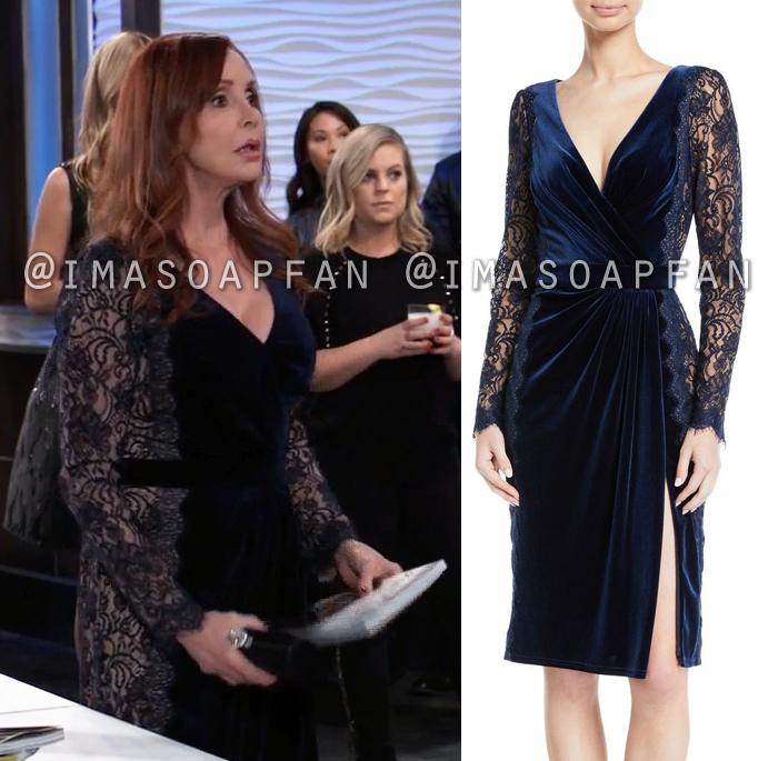 Bobbie Spencer, Jackie Zeman, Blue Velvet V-neck Dress with Illusion Lace Panels, General Hospital, GH