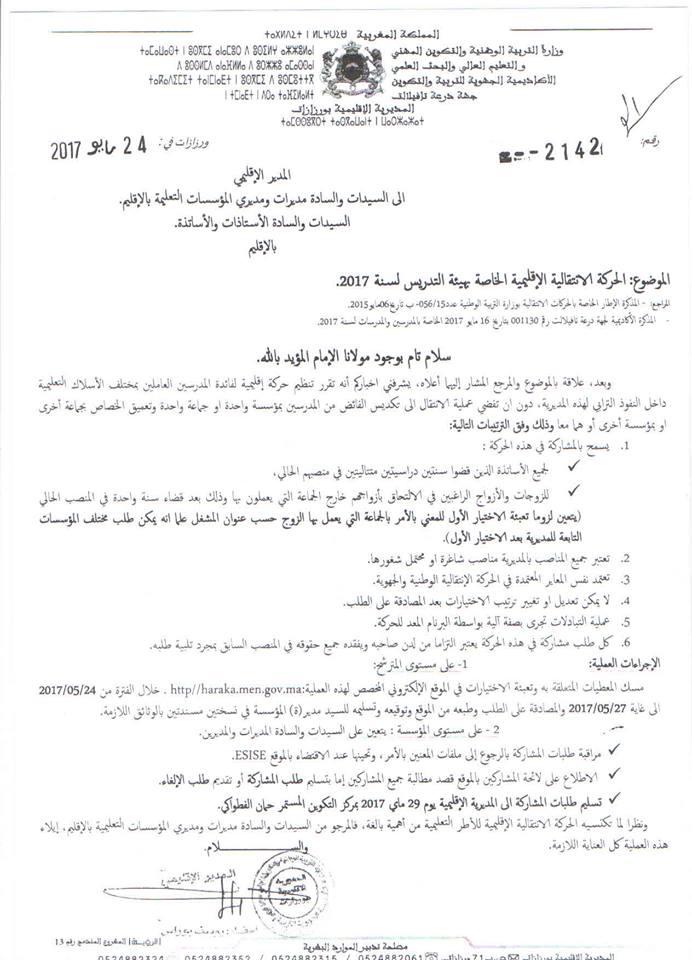 مذكرة الحركة الانتقالية المحلية لمديرية ورزازات 2017