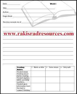 reading response journal - downloadable resource from Raki's Rad Resources